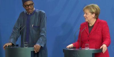 VIDEO Presedintele Nigeriei si-a criticat sotia in timpul unei conferinte comune cu Angela Merkel: